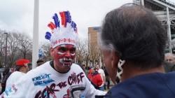 """Protestor dressed as """"Wahoo"""""""