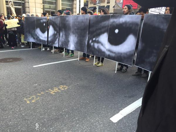 Eric Garner's Eyes on protest signs