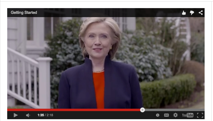 Hillary R. Clinton announcing 2016 presidential bid on YouTube