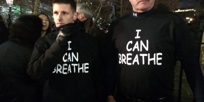 """I Can Breathe"" T-shirts at Pro-Police Rally -  by Steven Thrasher"