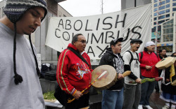 Protest against Columbus Day in Seattle