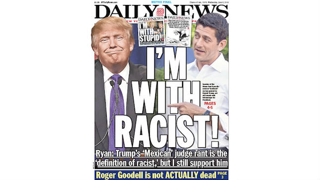 I'm with Racist cover NY Daily News