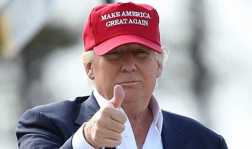 Trump wearing a hat