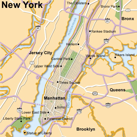 Map Of New York Islands.New York City And Surroundings Map