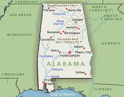Alabama On A Map map alabama   Alabama On A Map