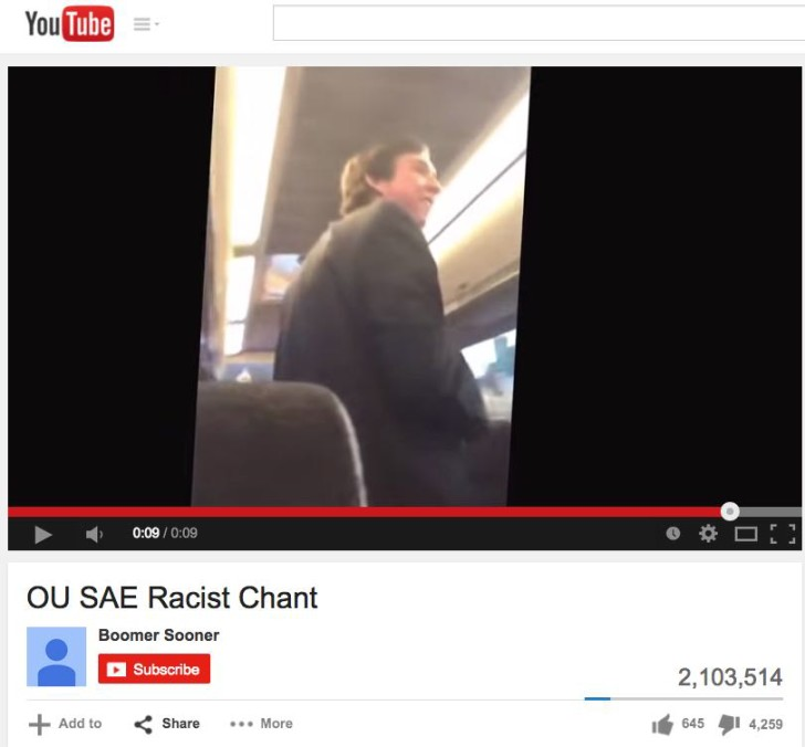 OU SAE Racist Chant Video - screen shot