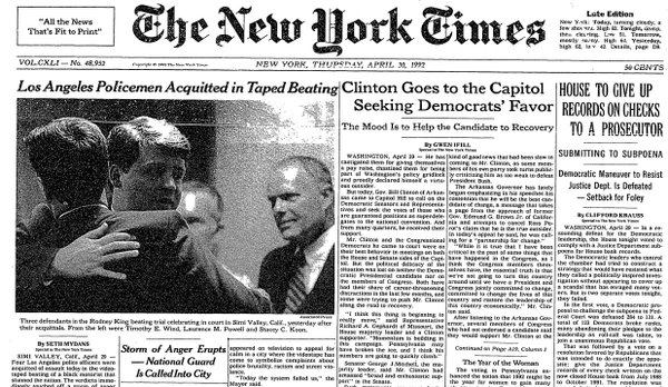 NYTimes Front Page, April 29, 1992